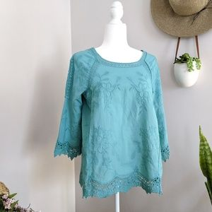 Soft Surroundings Teal Embroidered Crochet Top PS